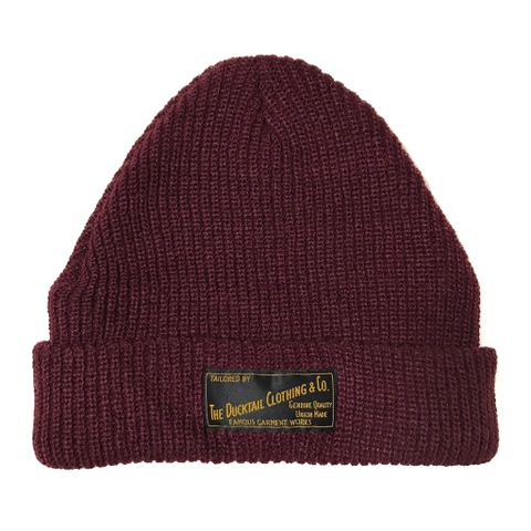 "DUCKTAIL CLOTHING KNIT CAP ""PLAIN"" BURGUNDY"
