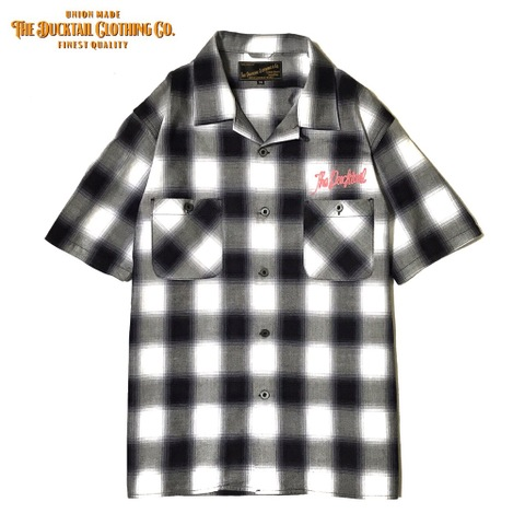 "DUCKTAIL CLOTHING SHORT SLEEVE OPEN COLLAR CHECK SHIRTS ""UNRIPE"" WHITE"