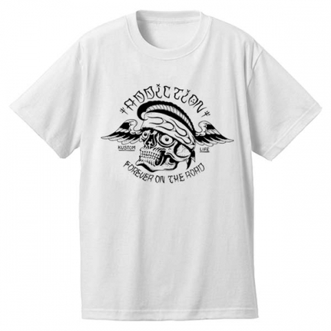 "Addiction KUSTOM THE LIFE SHORT SLEEVE TEE ""FOR EVER ON THE ROAD"" WHITE"