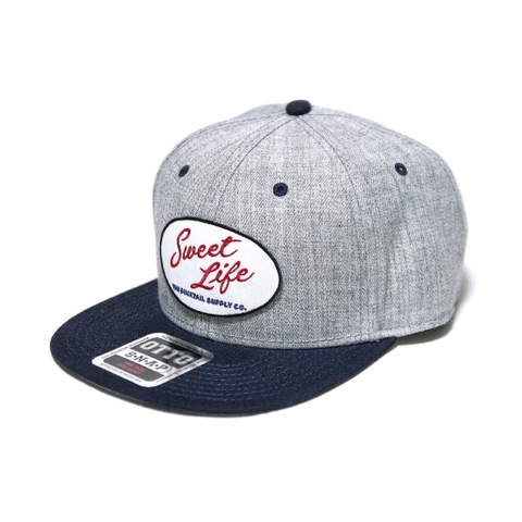 "DUCKTAIL CLOTHING SNAPBACK CAP ""SWEET LIFE"" HEATHER GRAY×NAVY"