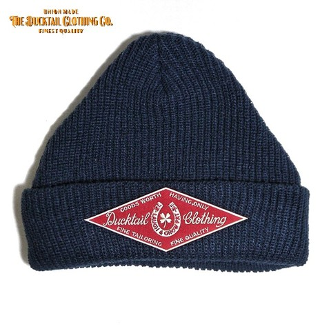 "DUCKTAIL CLOTHING ""HORSESHOE"" KNIT CAP NAVY"