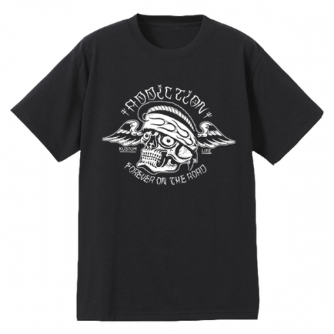 "Addiction KUSTOM THE LIFE SHORT SLEEVE TEE ""FOR EVER ON THE ROAD"" BLACK"