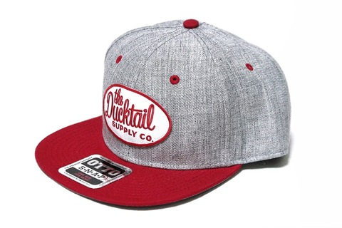 "DUCKTAIL CLOTHING SNAPBACK CAP ""CLASSIC"" HEATHER GRAY×RED"