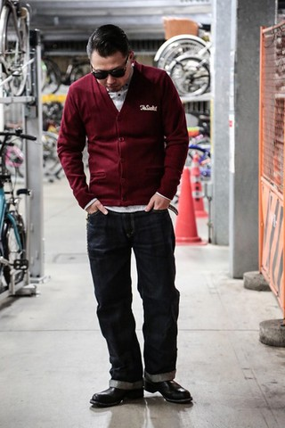 "DUCKTAIL CLOTHING ""DAYS"" KNIT CARDIGAN BURGUNDY"