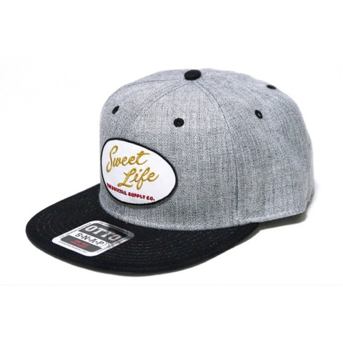 "DUCKTAIL CLOTHING SNAPBACK CAP ""SWEET LIFE"" HEATHER GRAY×BLACK"