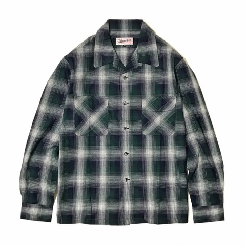 "Addiction KUSTOM THE LIFE OPEN COLLAR SHIRTS ""OPEN CHECK L/S SHIRT"" GREEN"