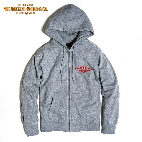 "DUCKTAIL CLOTHING ""HORSESHOE"" ZIP HOODIE HEATHER GRAY"