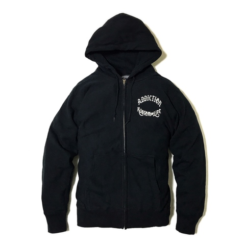 "Addiction KUSTOM THE LIFE ZIP HOODIE ""RT KUSTOM MERCURY"" BLACK"