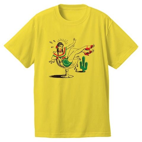 "Addiction kustom the life ""Borracha"" Tee YELLOW"