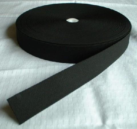 20mm幅平ゴム釦ホール付:黒(カット)