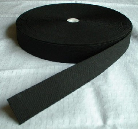 20mm幅平ゴム釦ホール付:黒(1反)