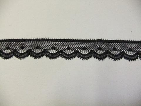 片端スカラップレース23mm幅:黒(10-23)