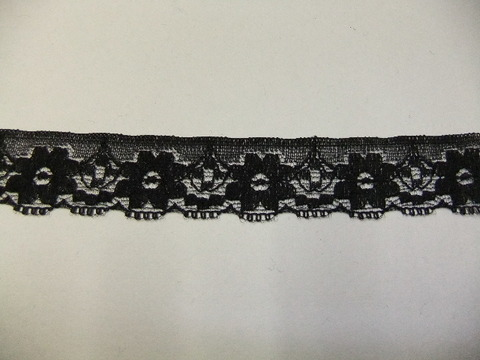 片端スカラップレース25mm幅:黒(18-25)