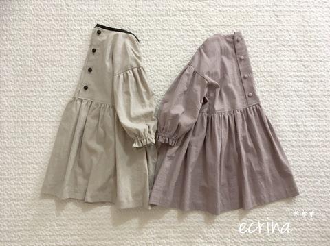 *オーダー子ども服:綿麻シンプルワンピース