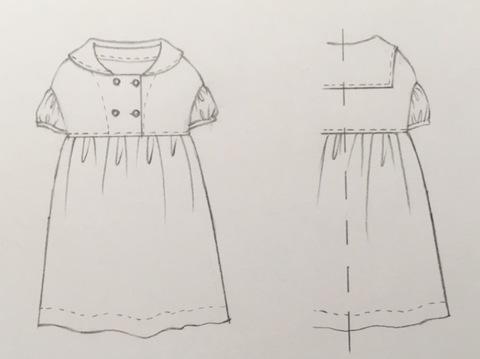 *オーダー子ども服:半袖セーラーワンピース