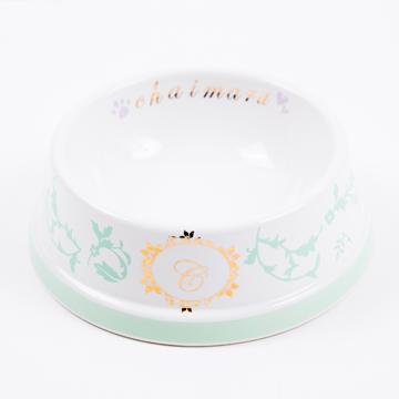 25.small arabesque & initial pet food bowl アラベスク&イニシャルペットフードボール(小)
