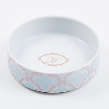 24.damask & initial pet food bowl(ダマスク&イニシャルペットフードボール)(ストレートタイプ)