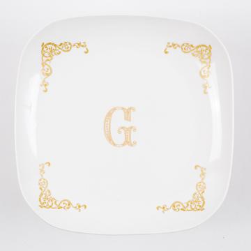 3.gold flame large initial dish(ゴールドフレームラージイニシャルディッシュ)