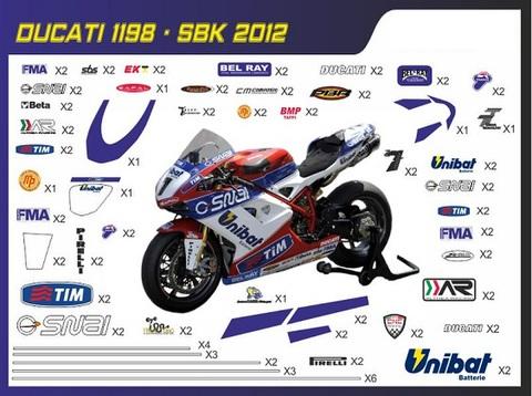 ドカティ1098/1198/848 SBK グラフィック デカール ステッカー