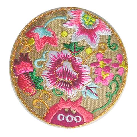 刺繍ビーズー丸花ー金