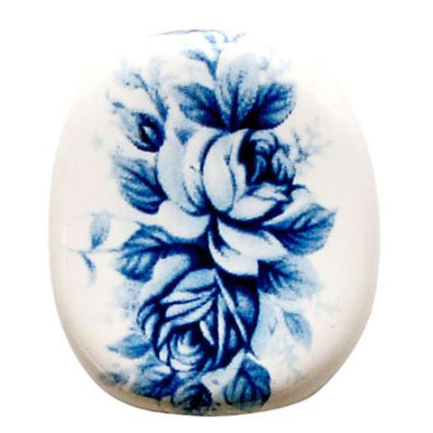 陶器ビーズ 青バラ2輪