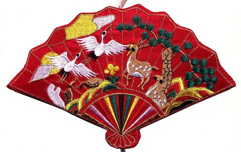 刺繍ビーズー大-扇型赤