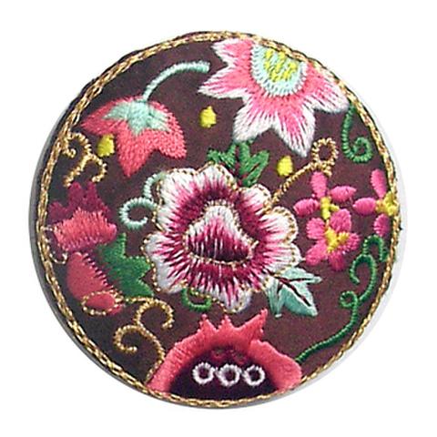 刺繍ビーズー丸花ー茶色