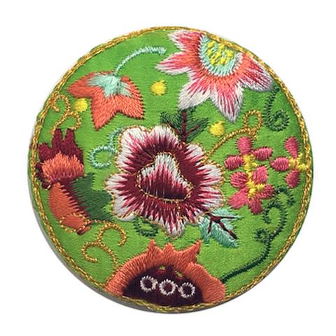 刺繍ビーズー丸花ー黄緑