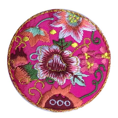 刺繍ビーズー丸花ーマゼンダ