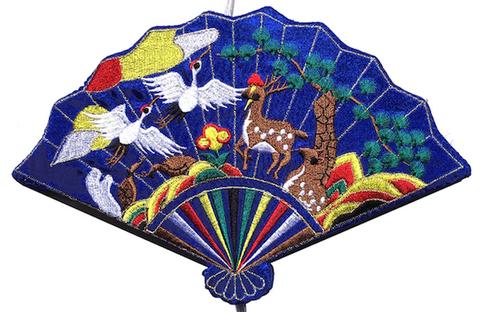 刺繍ビーズー大-扇型青