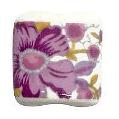 陶器ビーズ -扁-花柄小