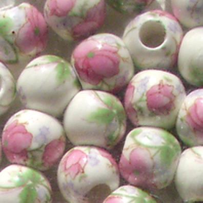 陶器ビーズ10mm ピンク緑 2個