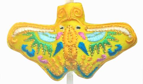 刺繍ビーズー蝶ー黄色