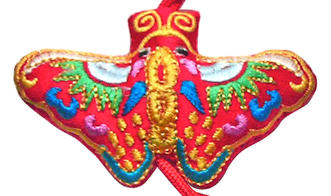 刺繍ビーズー蝶ー赤