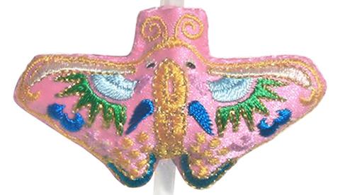 刺繍ビーズー蝶ーピンク