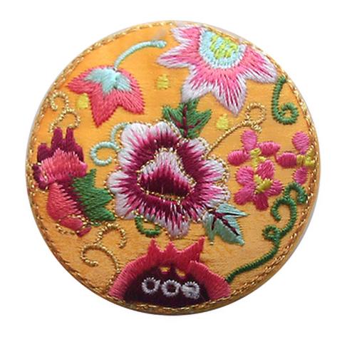 刺繍ビーズー丸花ーオレンジ色