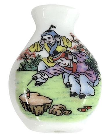 陶器ビーズ -方瓶