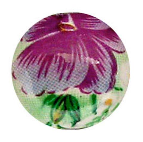 陶器ビーズ 14mm 紫水色花
