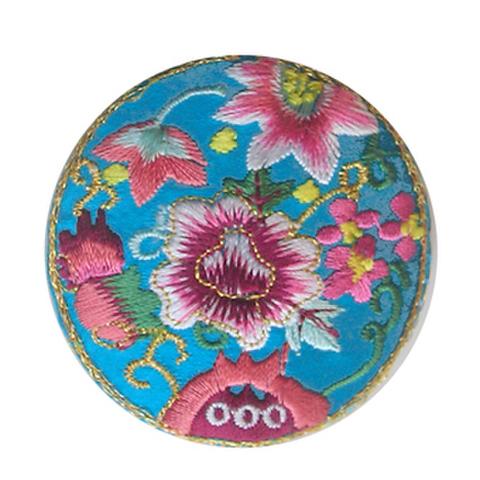 刺繍ビーズー丸花ー青緑