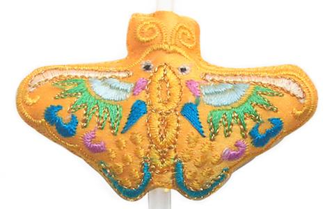 刺繍ビーズー蝶ーオレンジ
