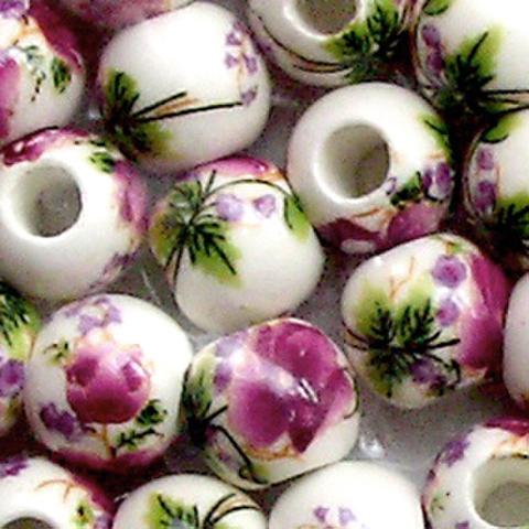 陶器ビーズ10mm 紫 2個