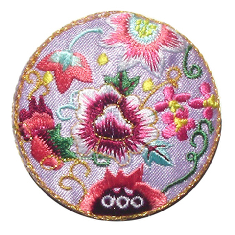 刺繍ビーズー丸花ー薄紫