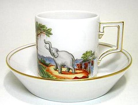 マイセン 【2006年世界限定洋食器】 作マイスター アフリカ象風景 コーヒーC/S 30%Off
