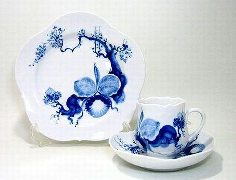 マイセン 【ブルーオーキッド824001】 コーヒーC/S+21cmプレート  20%Off