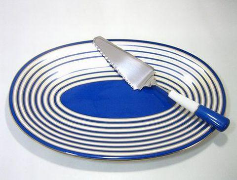 リチャードジノリ 【アマデウスの唄 ブルー 】  オーバルケーキプラター+ケーキサーバー 35%Off