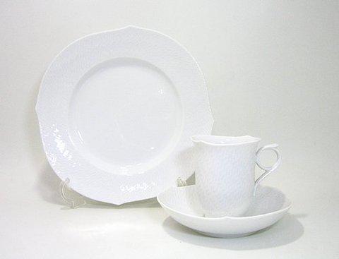 マイセン 【波の戯れホワイト】 コーヒーC/S 180cc・22.5cmプレート  20%Off
