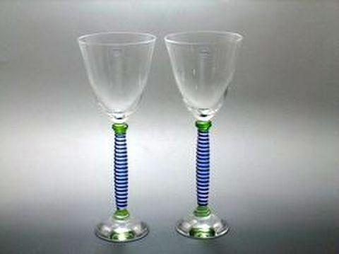 サルビアティ・ヴェネチアン  【フェニーチェ ブランド箱】 グラス ブルー・グリーン ペア  35%OFF