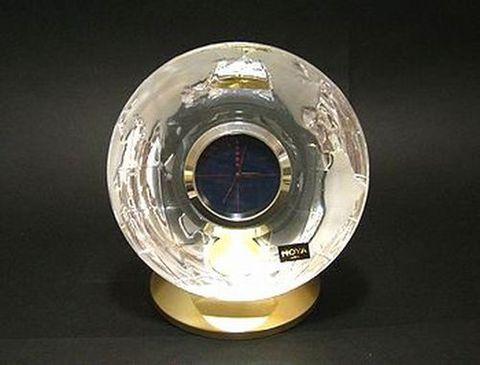 ホヤ 【クリスタル・クロック ブランド黒箱】  地球儀デスククロック  H14cm  15%Off