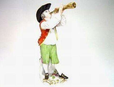 マイセン 【フィギュリン】  パリの行商人 パリのフレ役・角笛  H14.5cm  30%Off