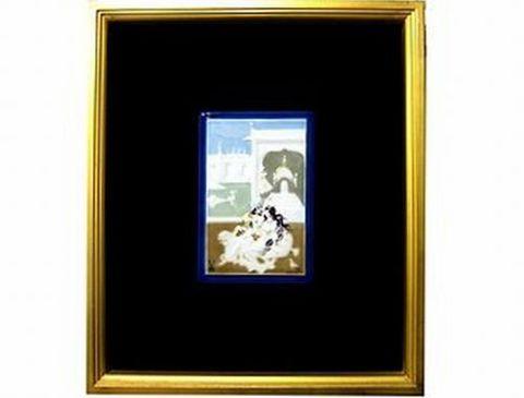 マイセン 【アラビアンナイト くつろぐ王様と王妃】   金箔額装磁板画 H34.5xW29cm 30%Off